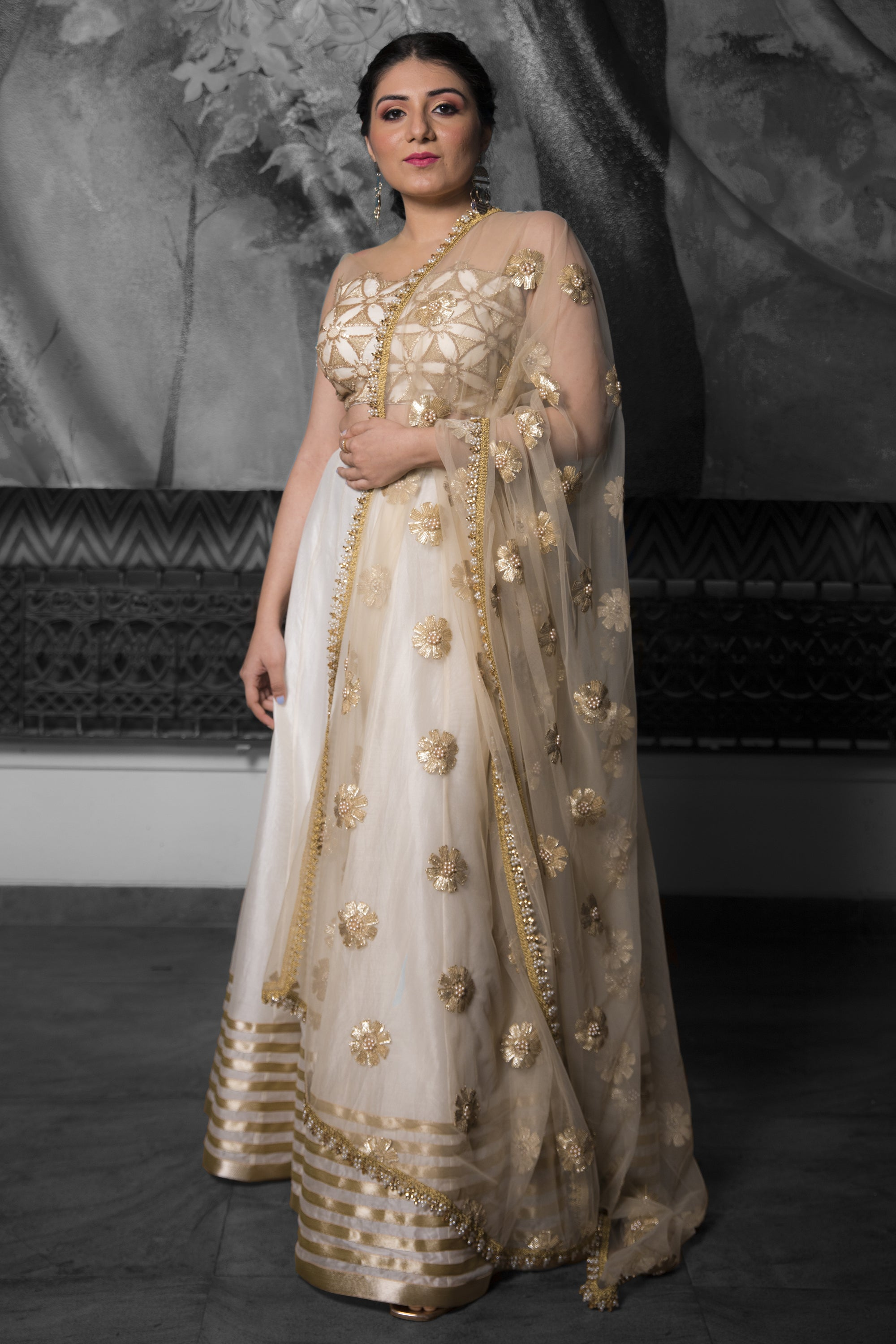 Ivory & Gold Lehenga With Cutwork & Pearls SIDE