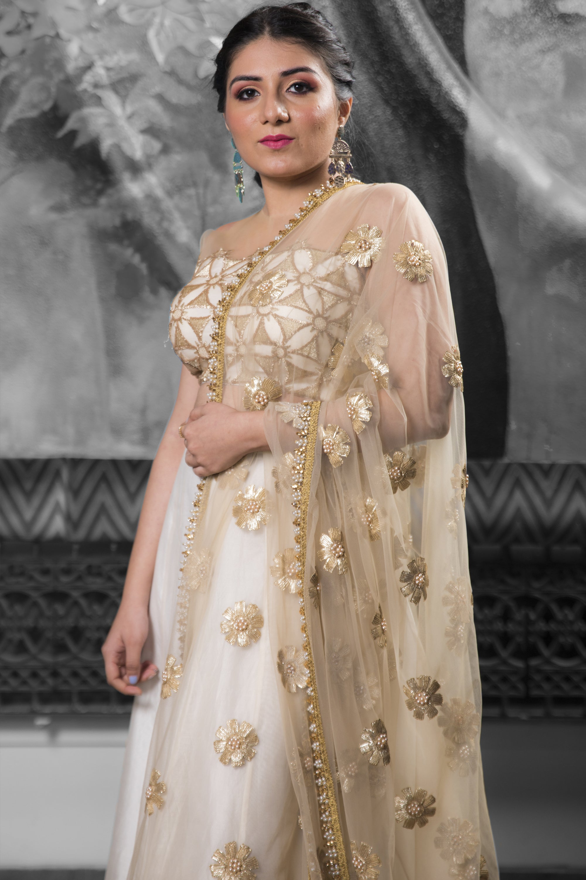 Ivory & Gold Lehenga With Cutwork & Pearls CLOSE