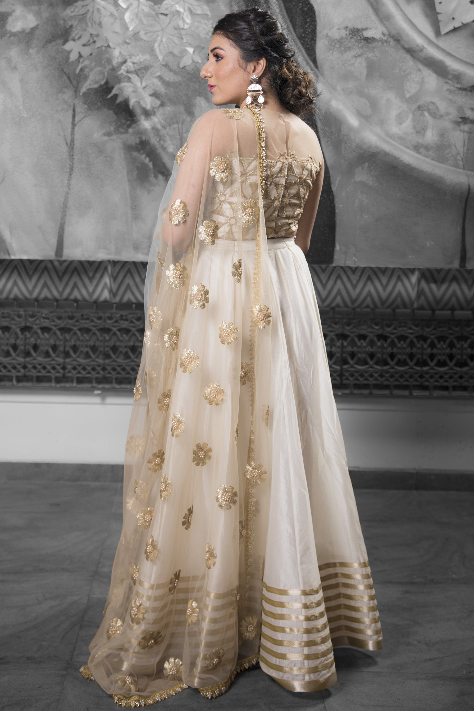 Ivory & Gold Lehenga With Cutwork & Pearls BACK