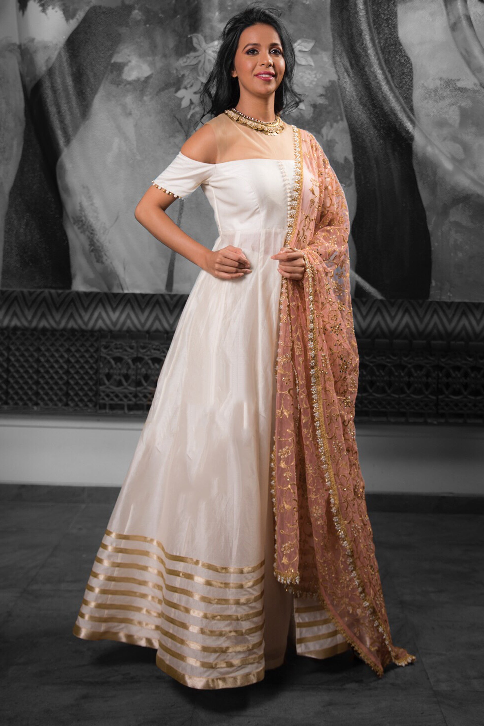 Anarkali Jacket & Lehenga Cotton Silk Set With Dupatta BACK