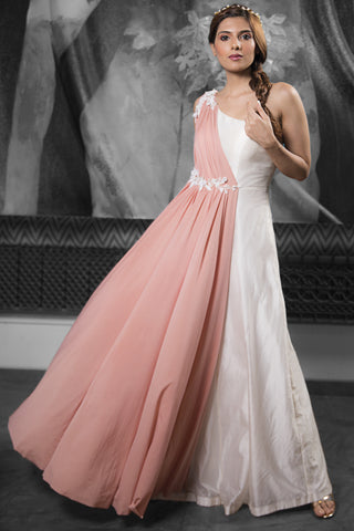 Ivory & Rose Gold One Shoulder Gown FRONT
