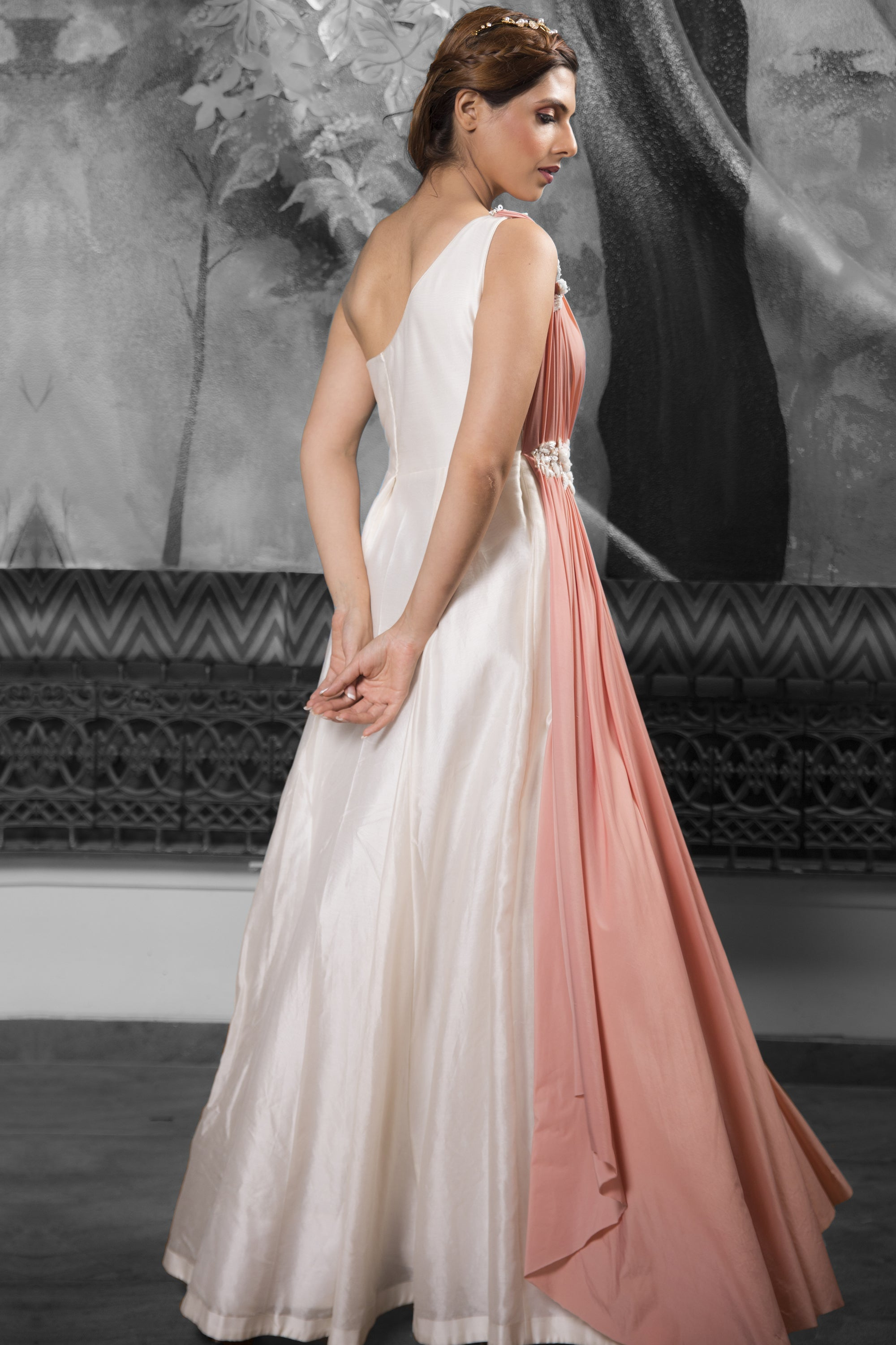 Ivory & Rose Gold One Shoulder Gown BACK