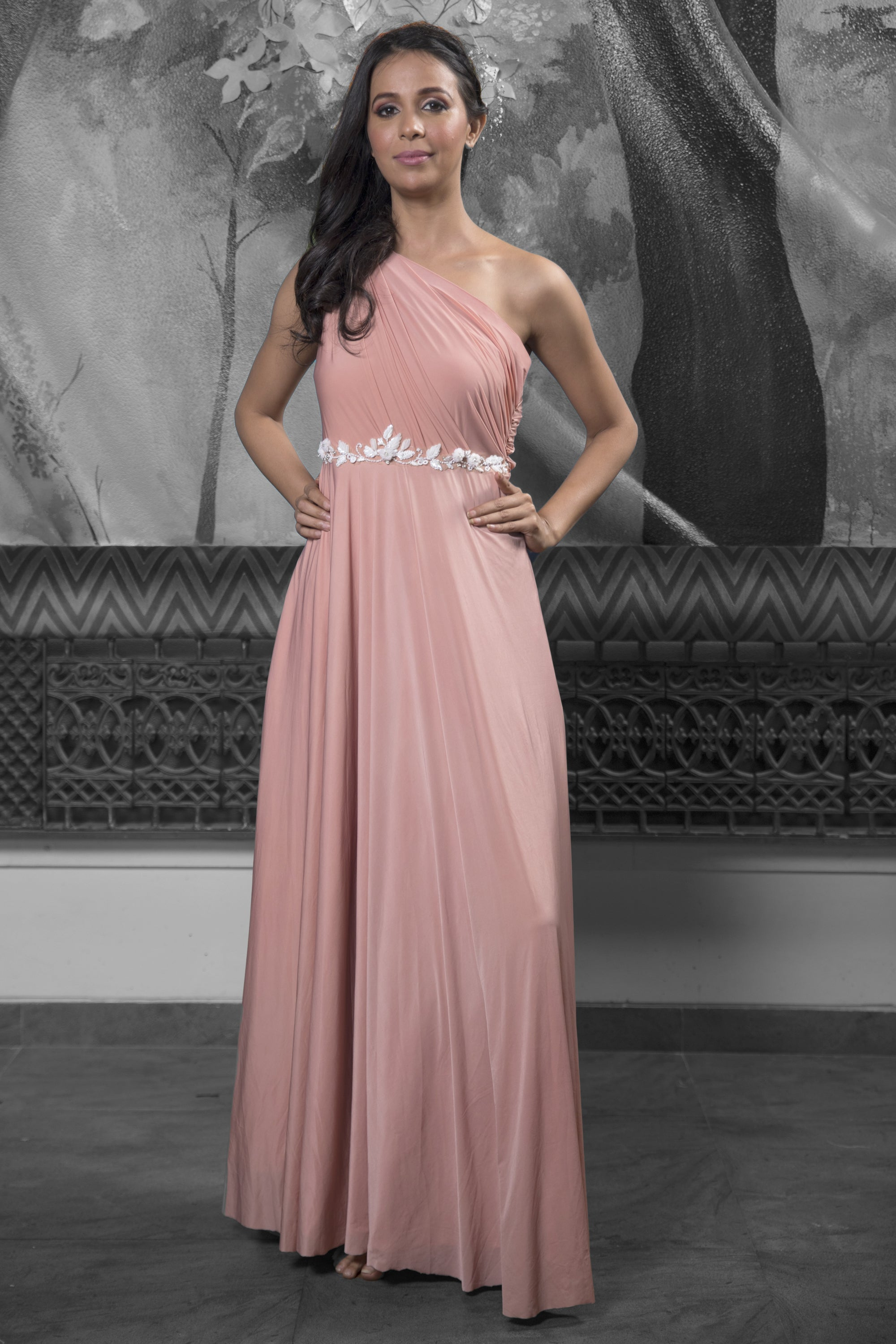 Rose Gold Gathered Gown FRONT