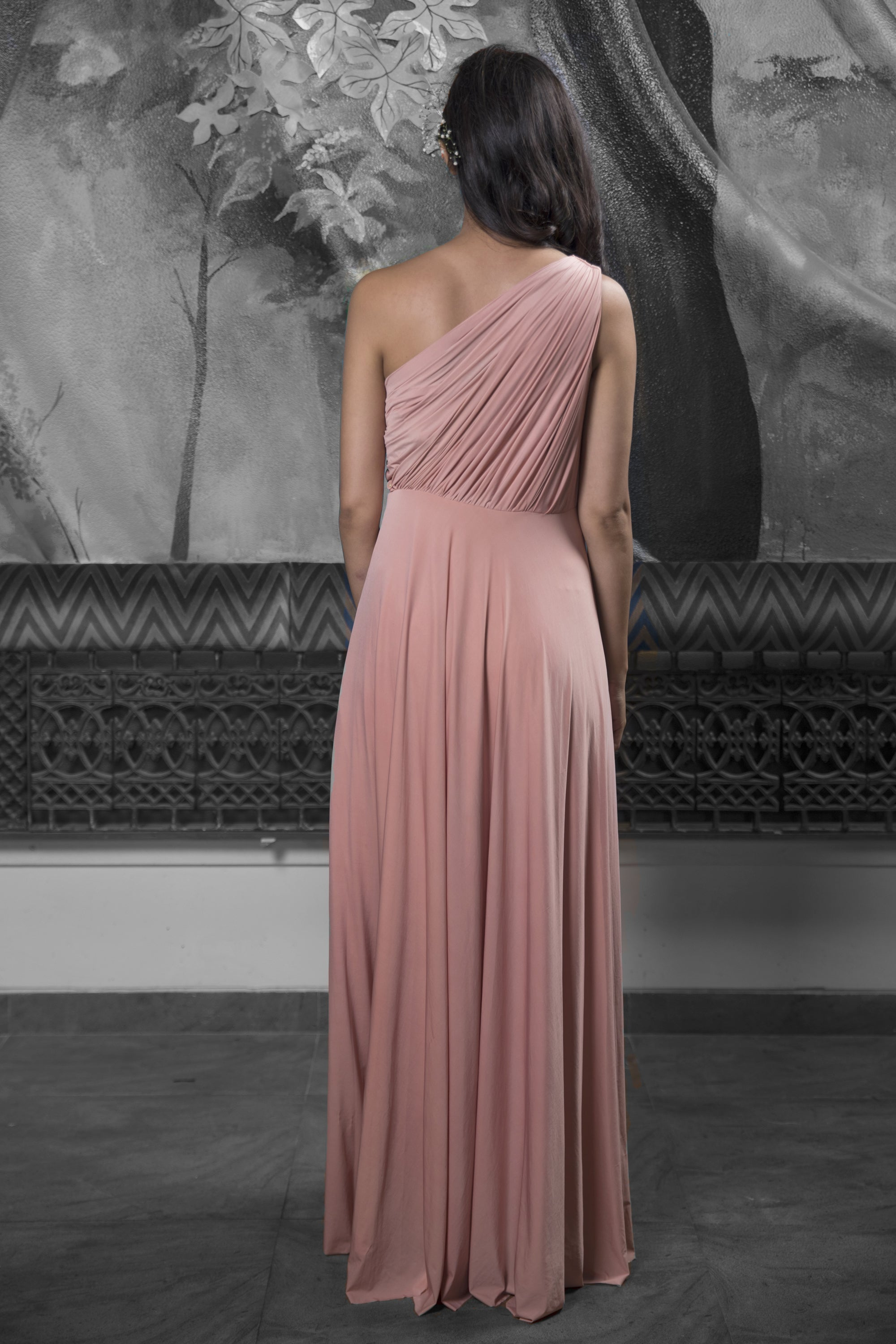 Rose Gold Gathered Gown BACK