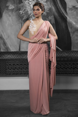 Pre-stitched Rose Gold Saree Gown FRONT
