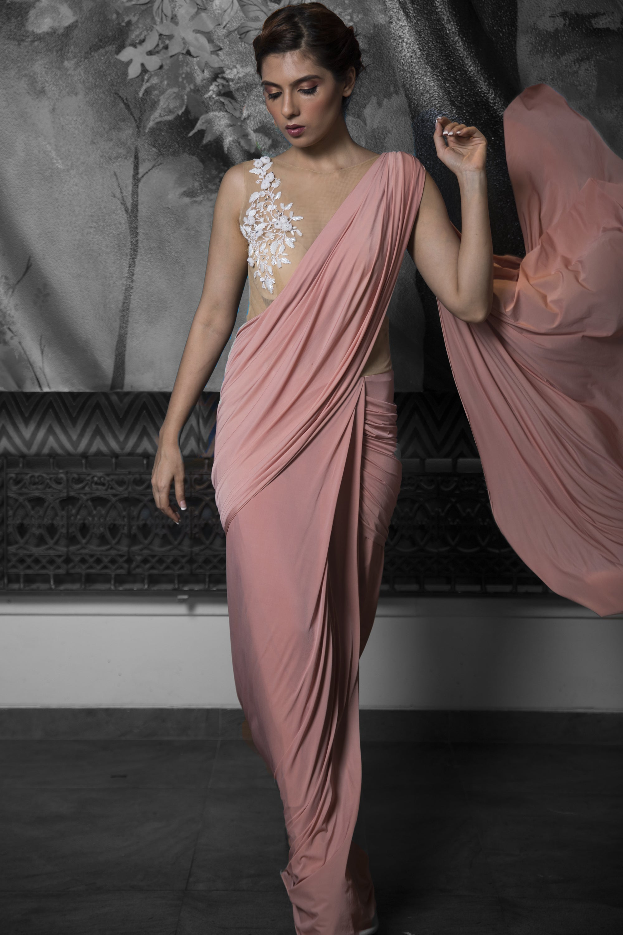 Pre-stitched Rose Gold Saree Gown SIDE