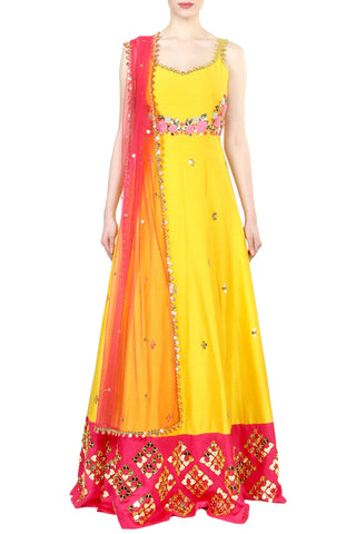 Chrome Yellow Anarkali Gown Front