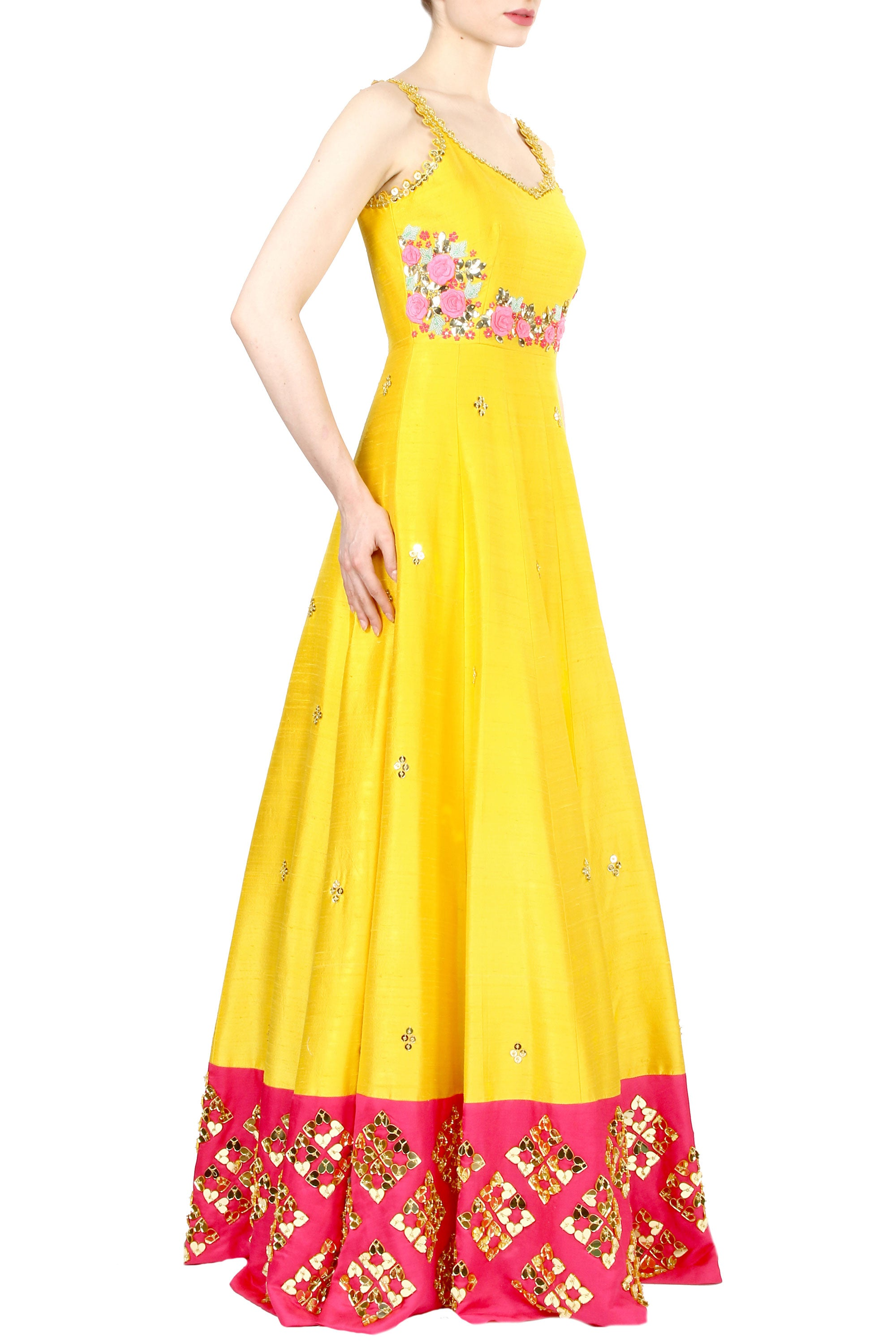 Chrome Yellow Anarkali Gown Side