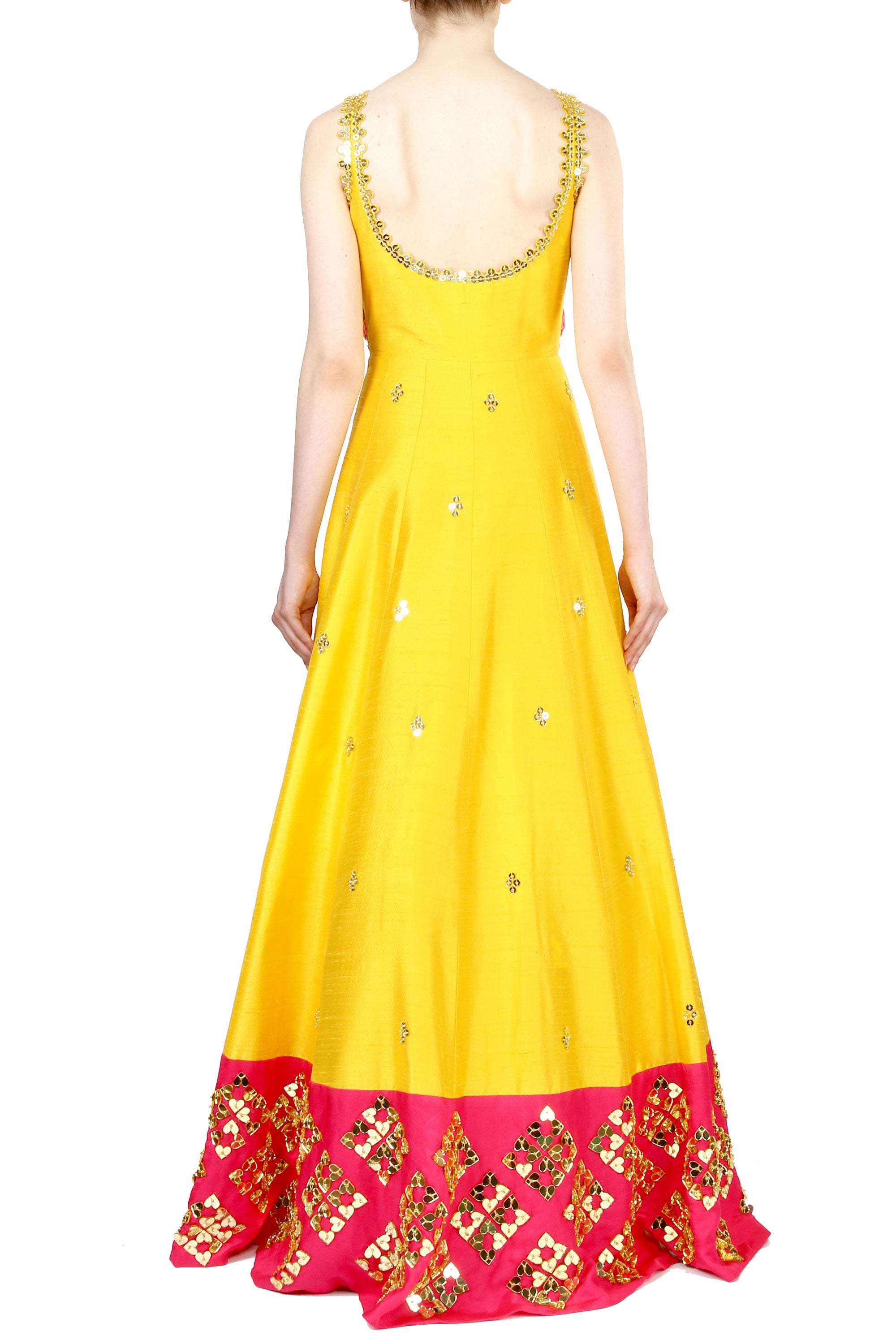Chrome Yellow Anarkali Gown Back