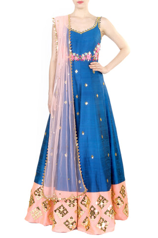 Dark Blue Anarkali Gown Front