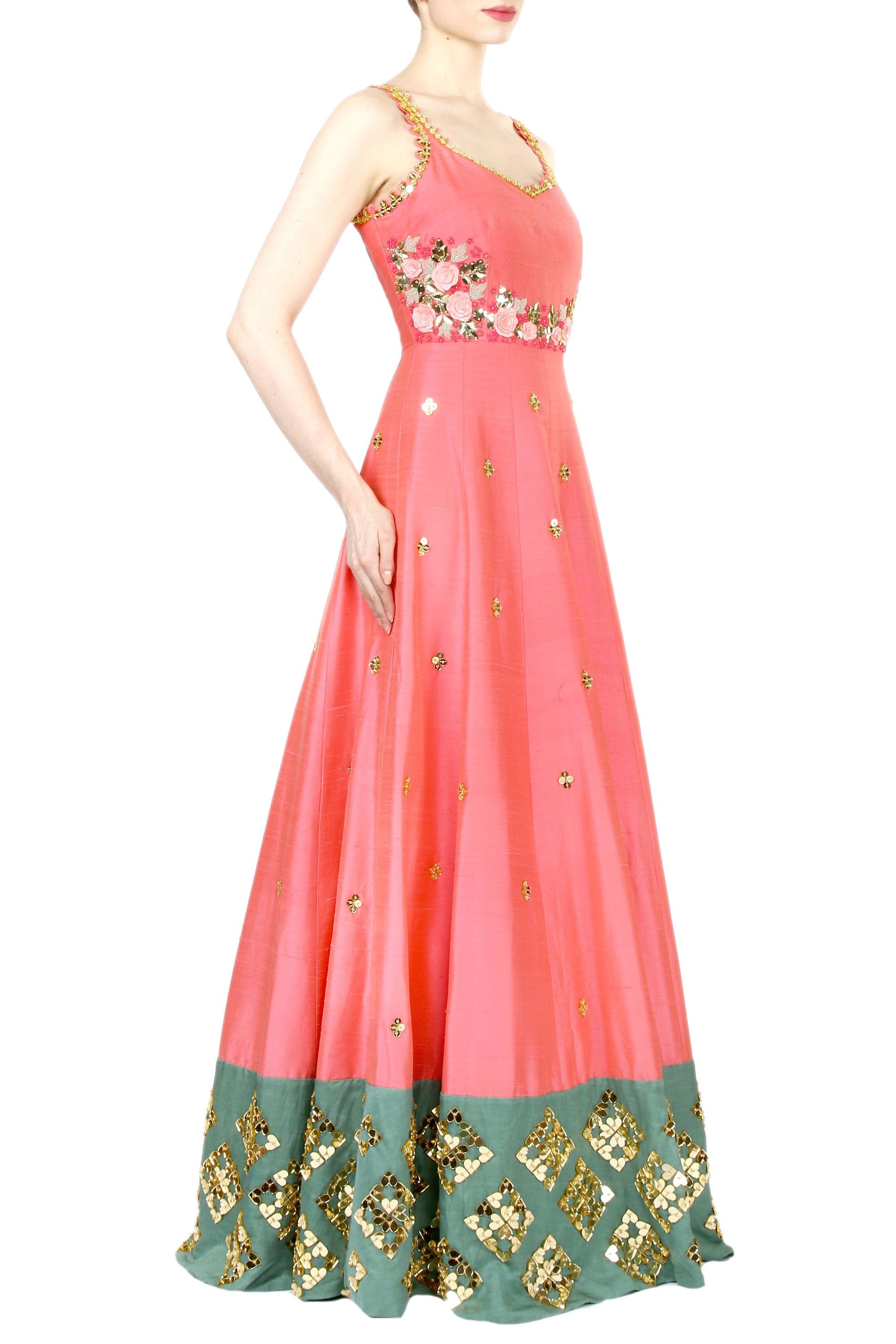 Coral Anarkali Gown Side
