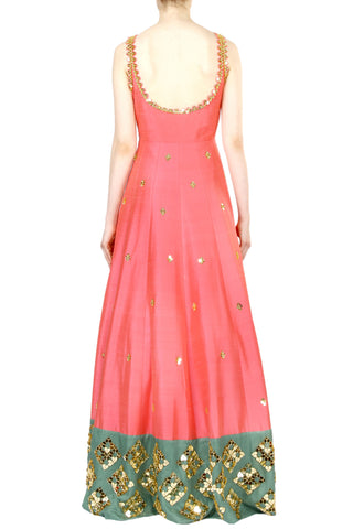 Coral Anarkali Gown