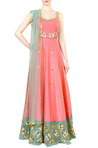 Coral Anarkali Gown Front