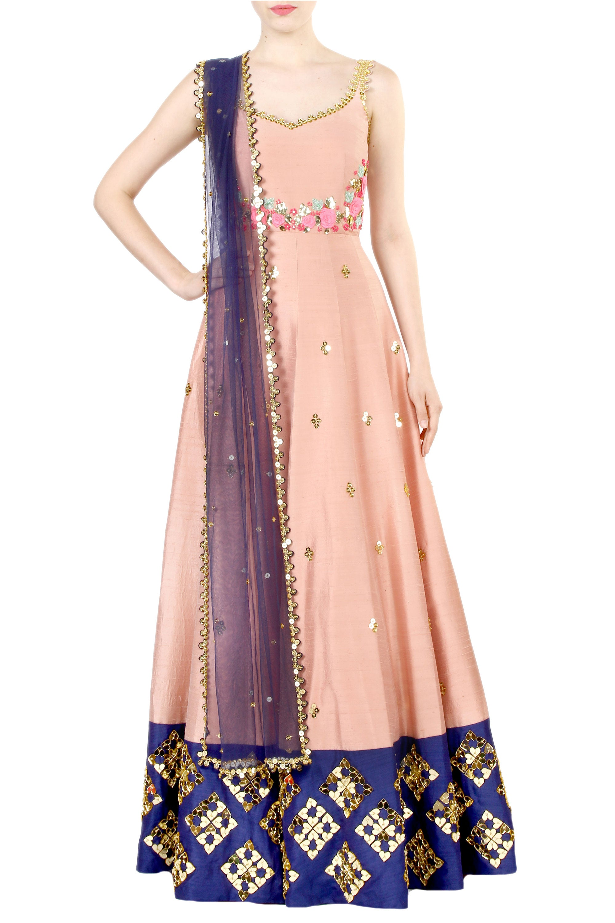 Blush Anarkali Gown Front