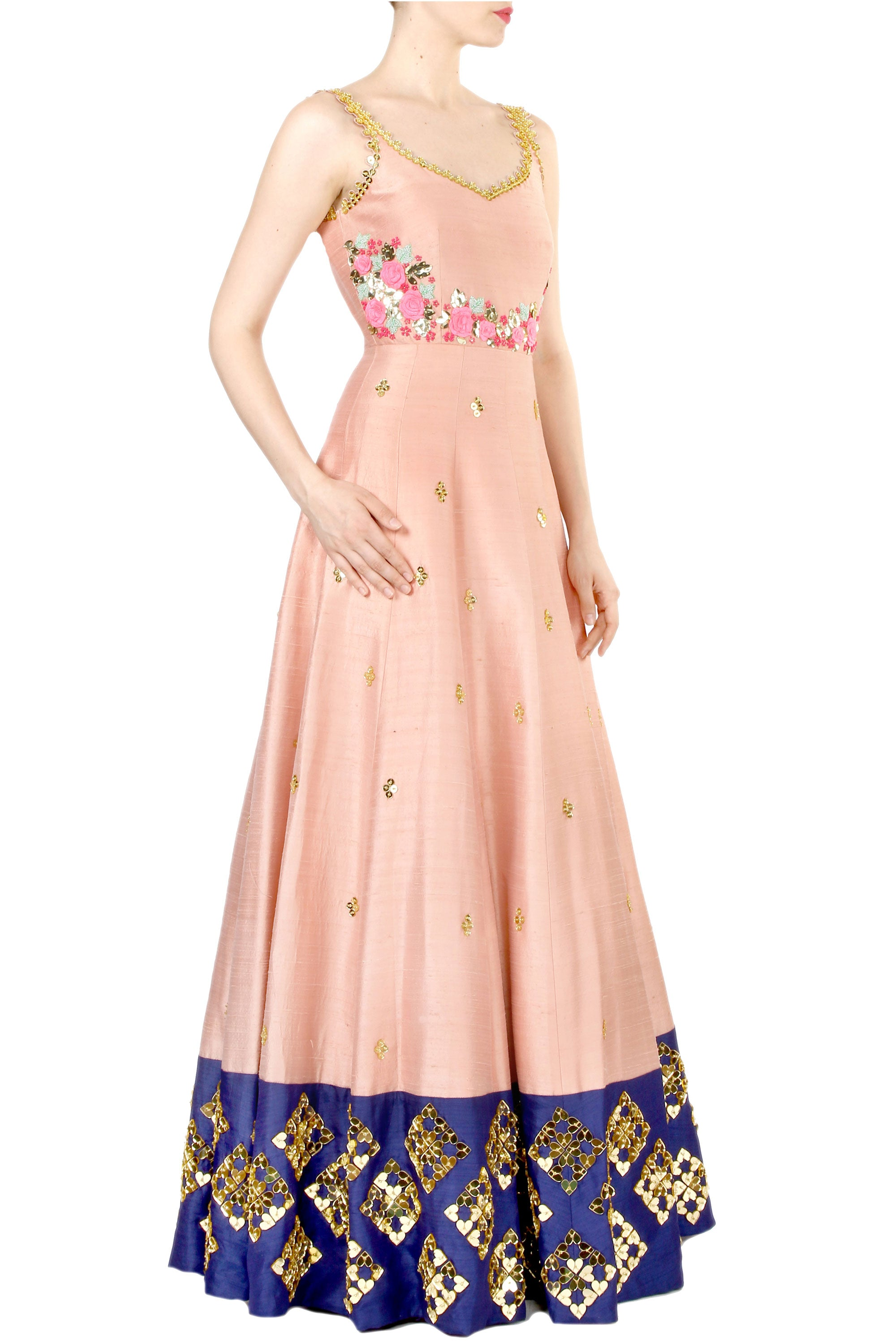 Blush Anarkali Gown Side