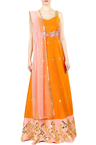 Orange Anarkali Gown Front