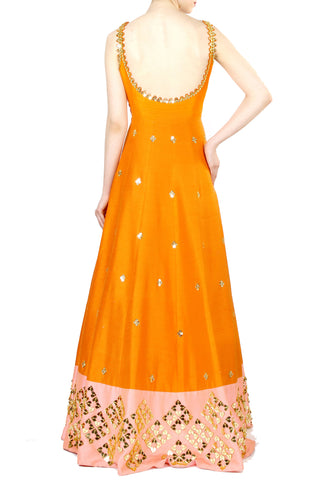 Orange Anarkali Gown