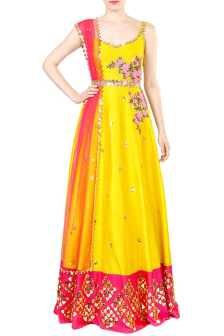 Chrome Anarkali Gown Front
