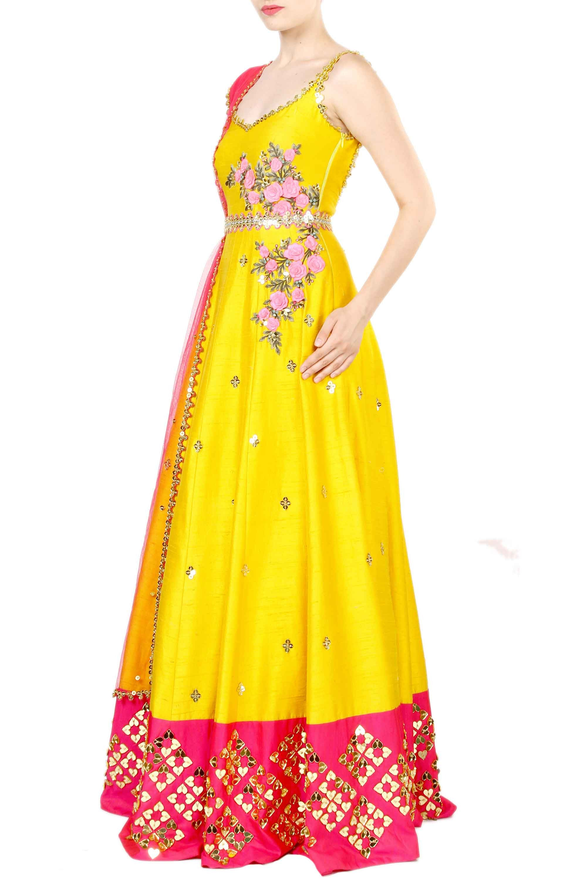 Chrome Anarkali Gown Side