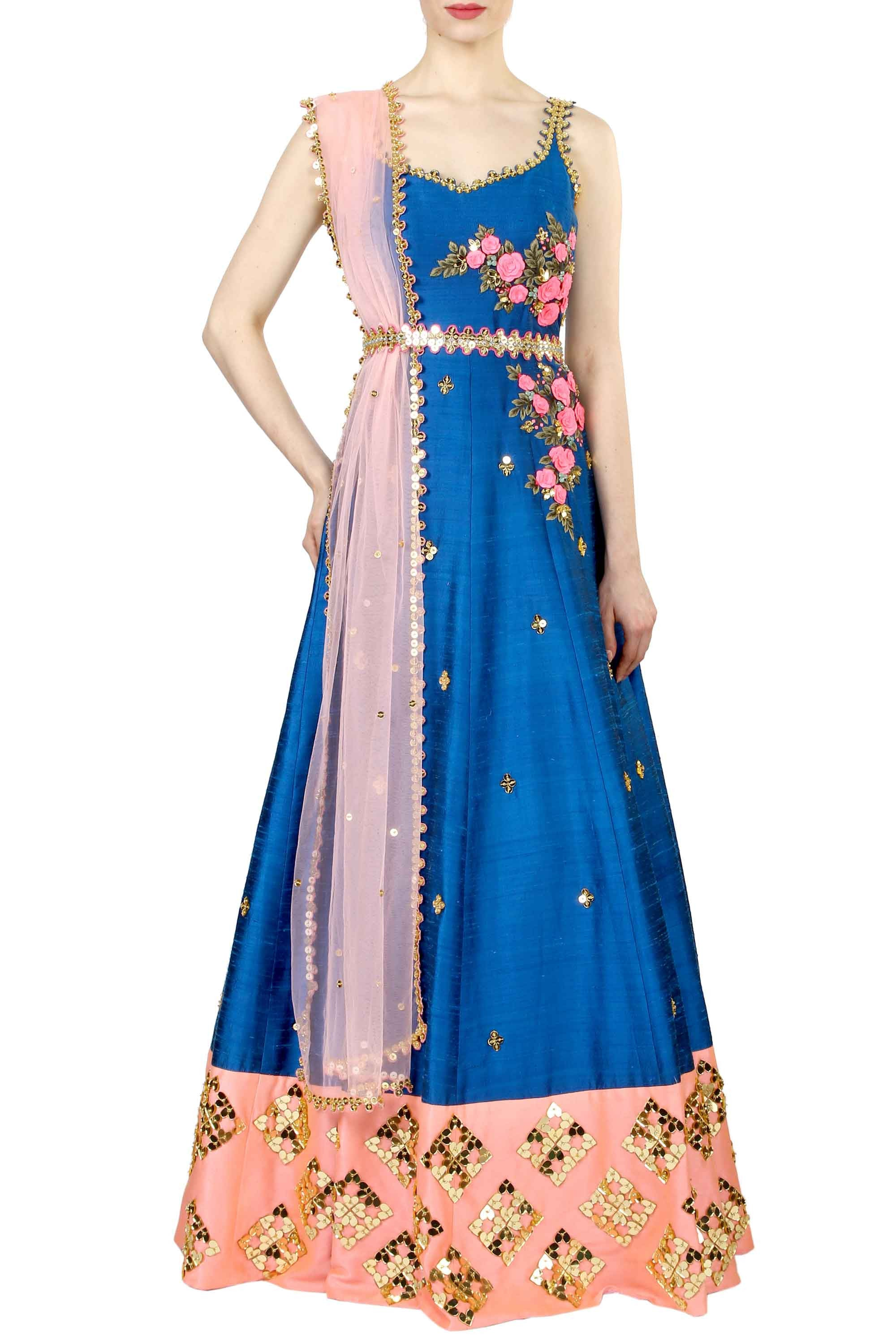 Mykonos Blue Anarkali Gown Full