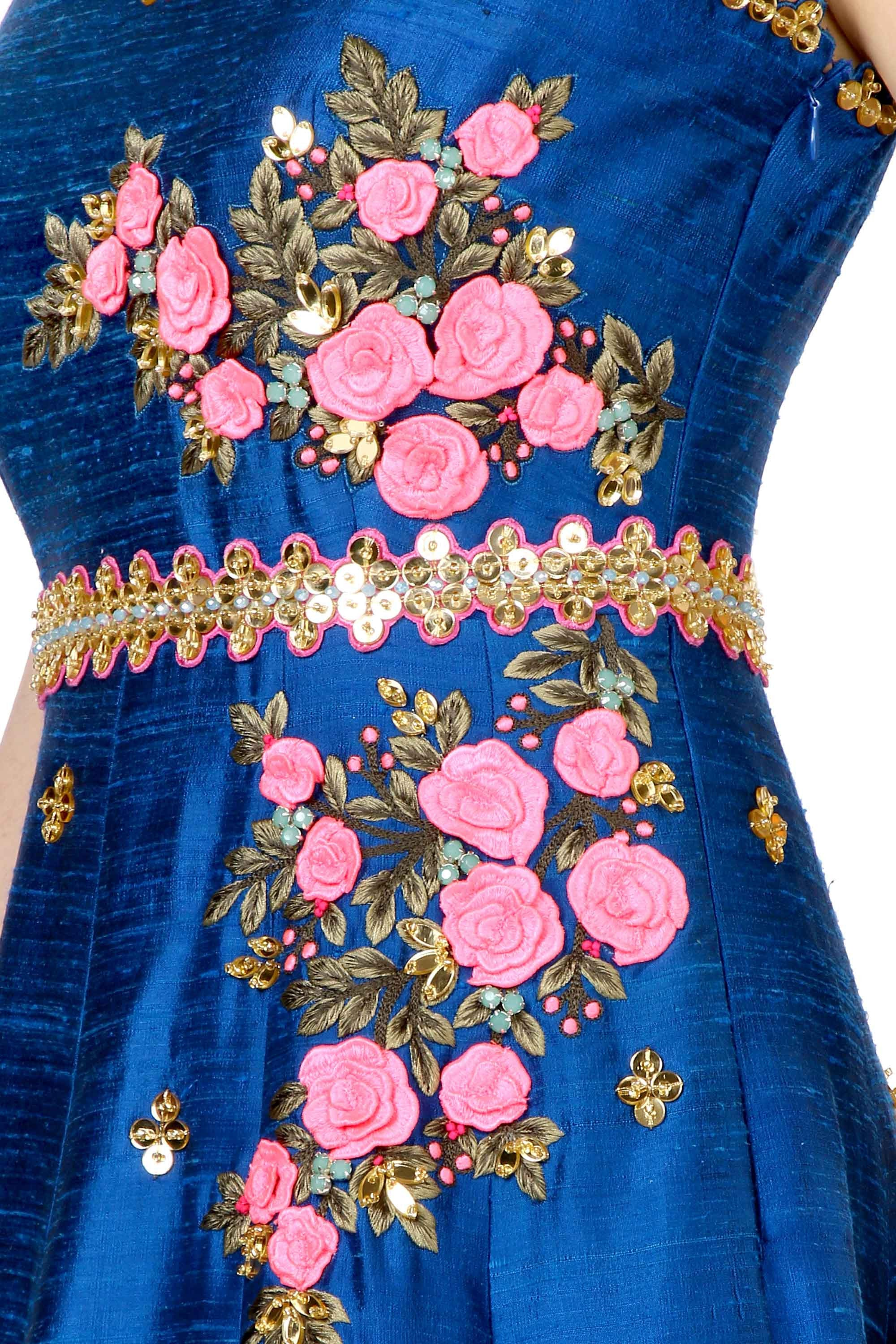 Mykonos Blue Anarkali Gown Closeup