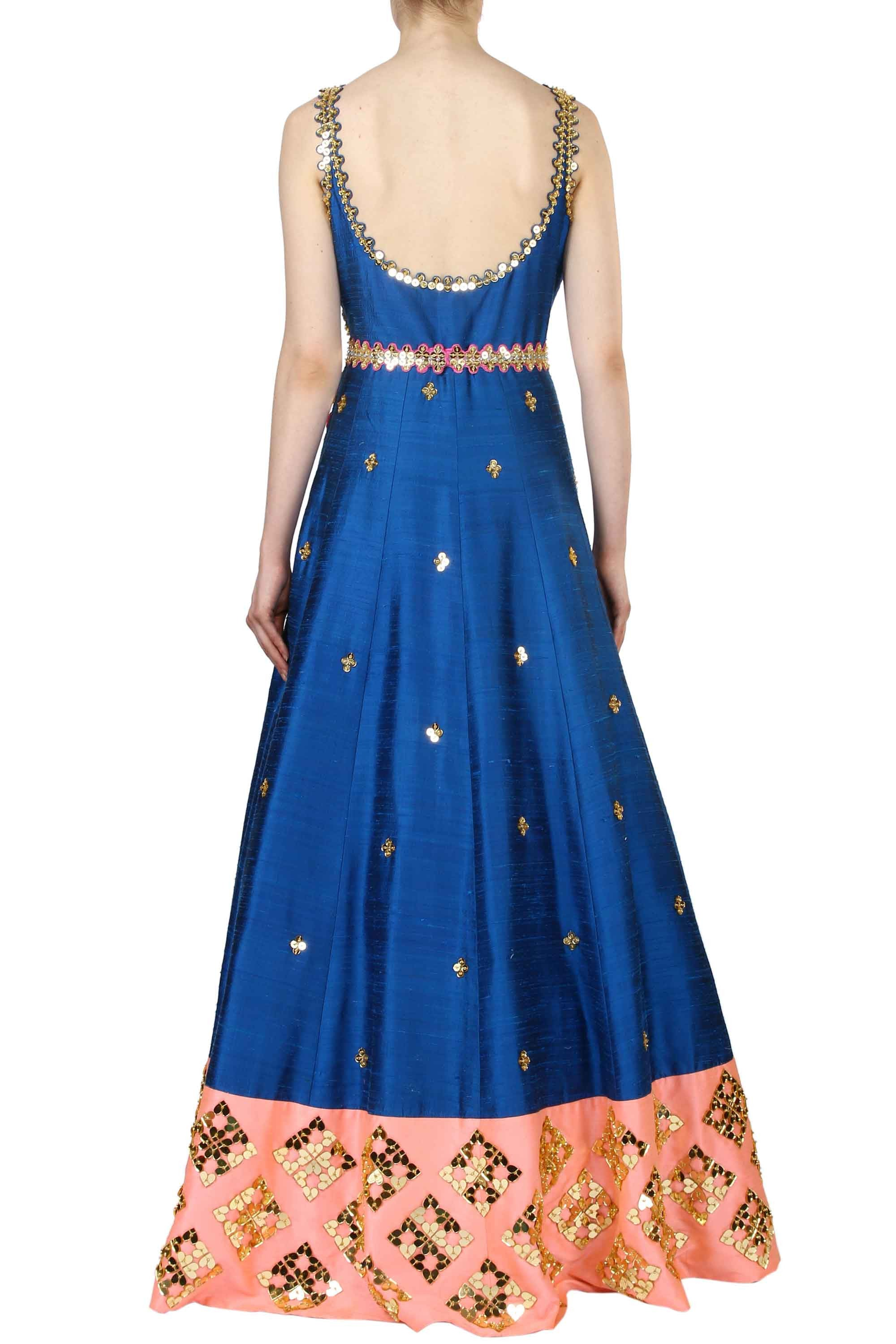 Mykonos Blue Anarkali Gown Back