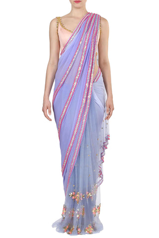 Lilac Georgette Pre-Stitched Saree Front