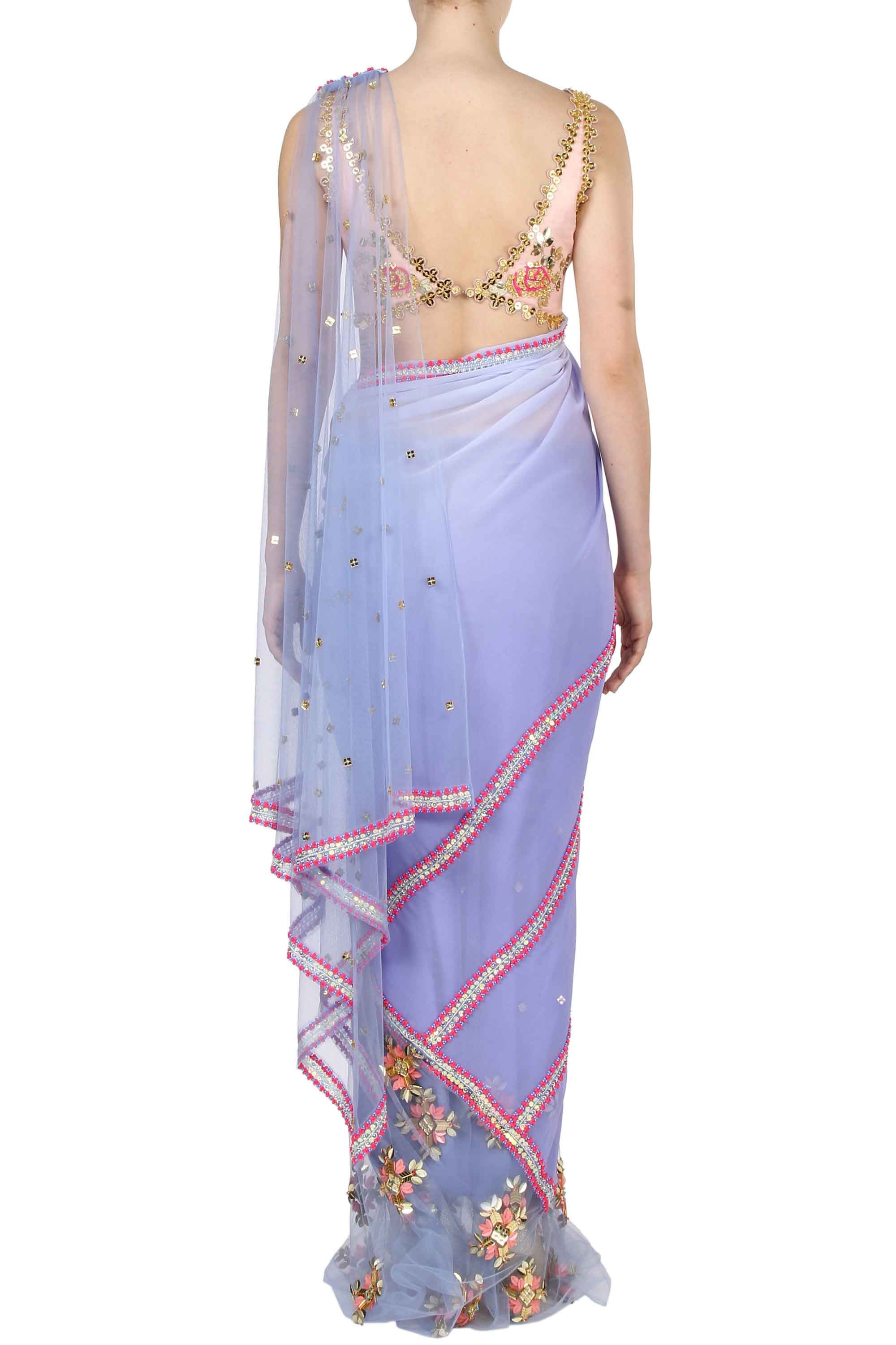 Lilac Georgette Pre-Stitched Saree Back