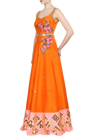 Orange Anarkali Embroidered Gown