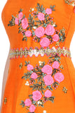 Orange Anarkali Embroidered Gown Closeup