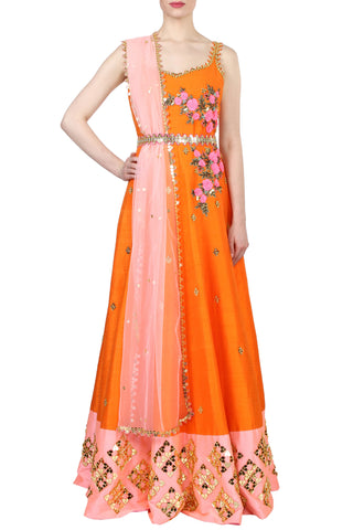 Orange Anarkali Embroidered Gown Front