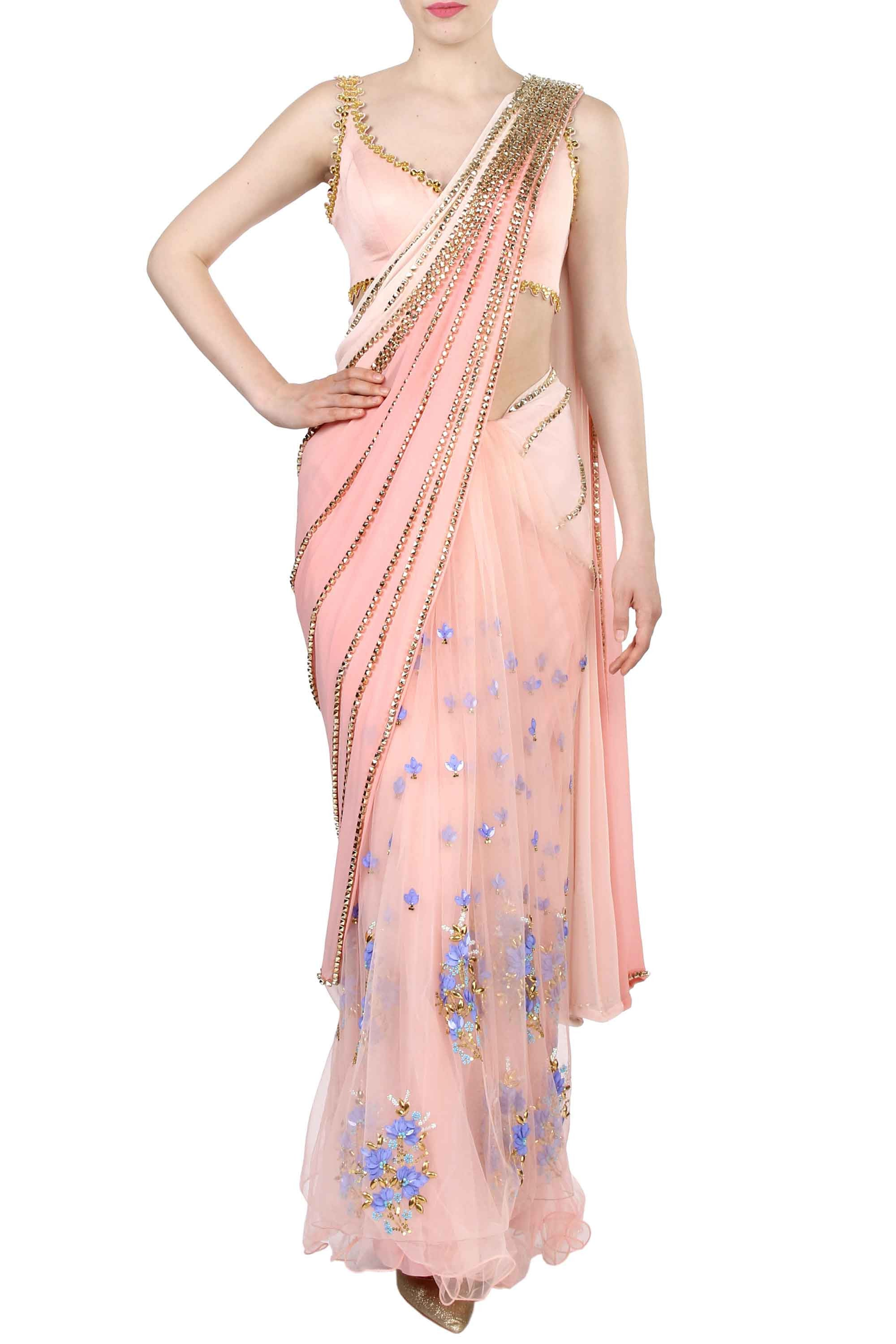 Pink Pre-Stitched Saree Front