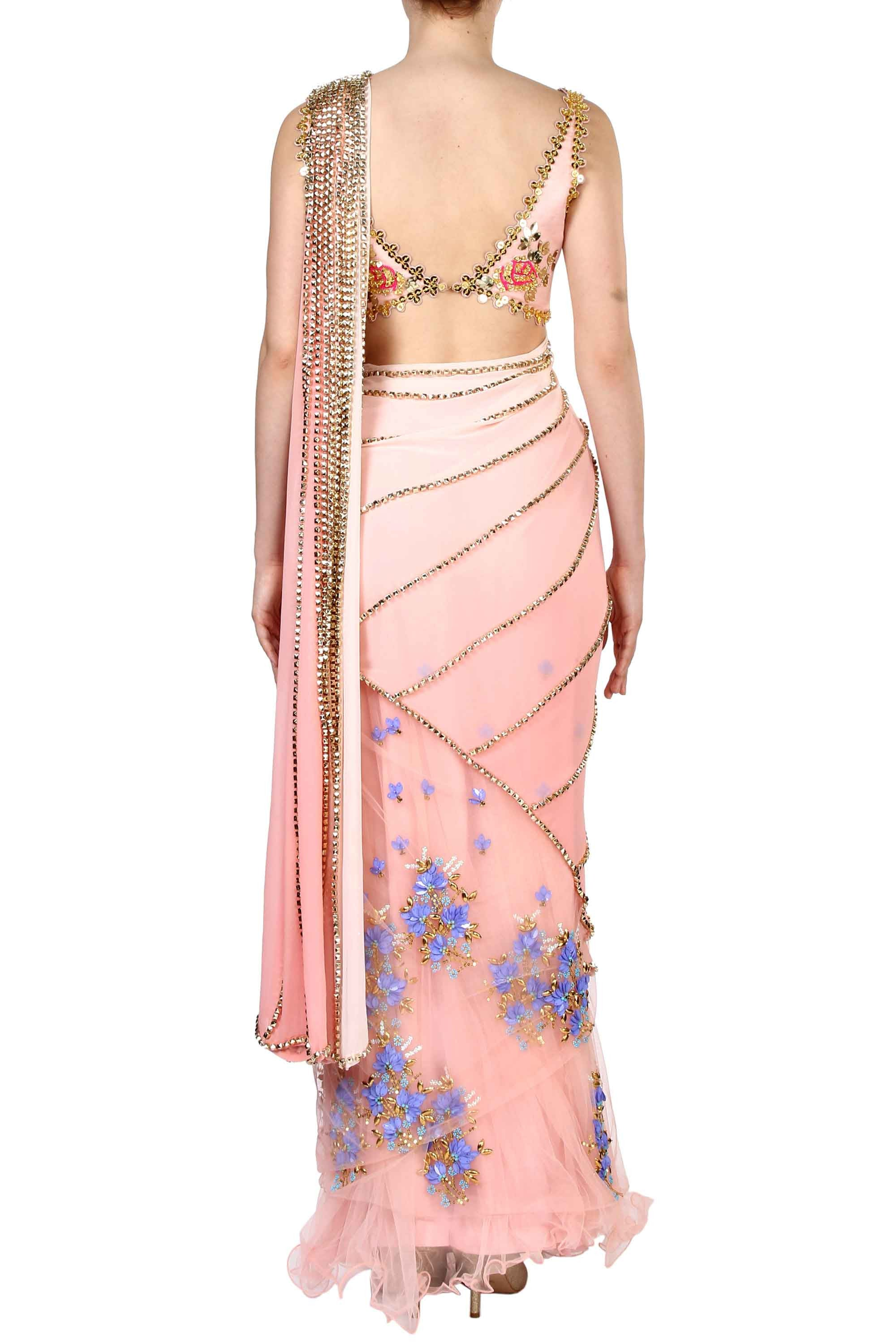 Pink Pre-Stitched Saree Back