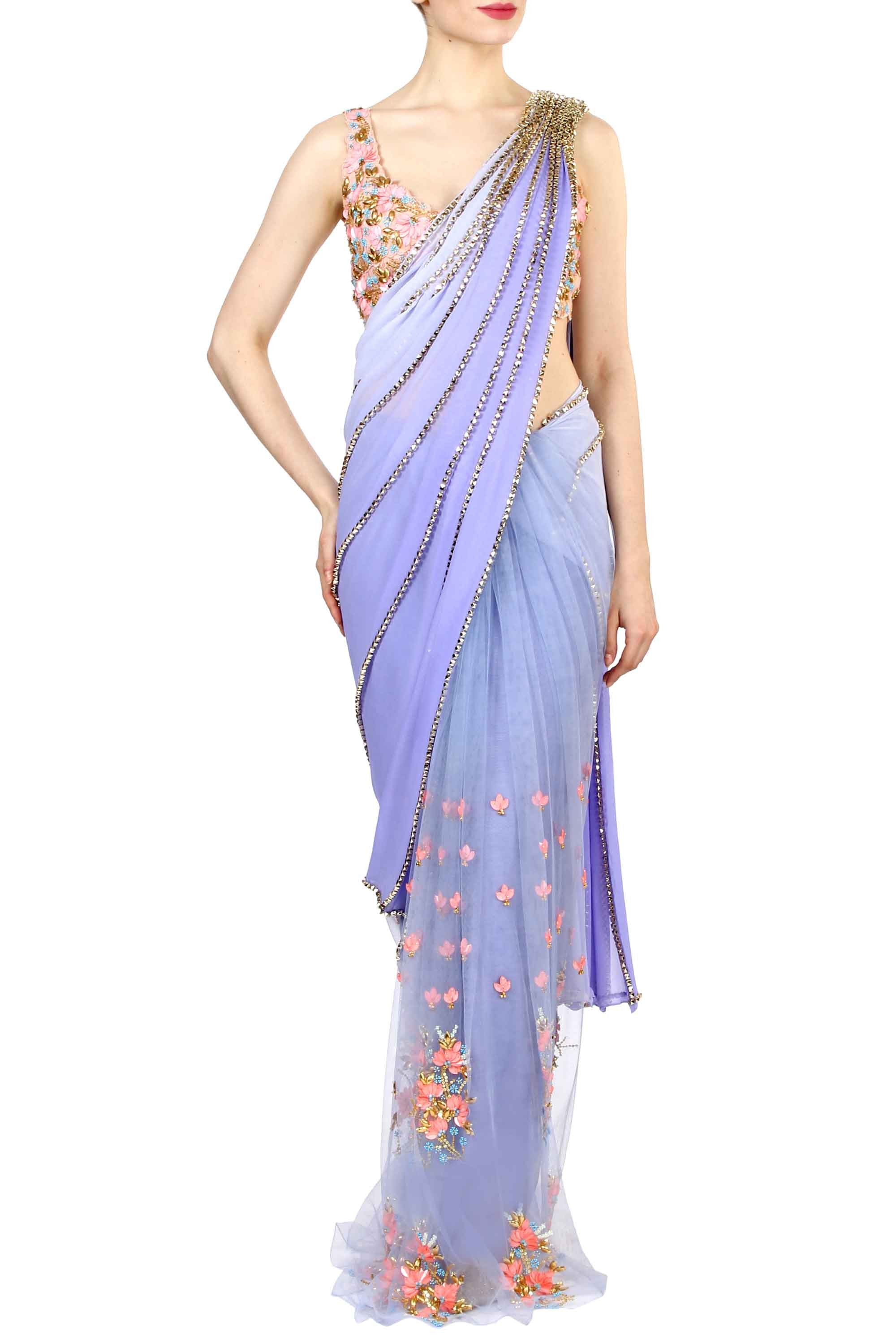 Lilac Pre-Stitched Saree Front