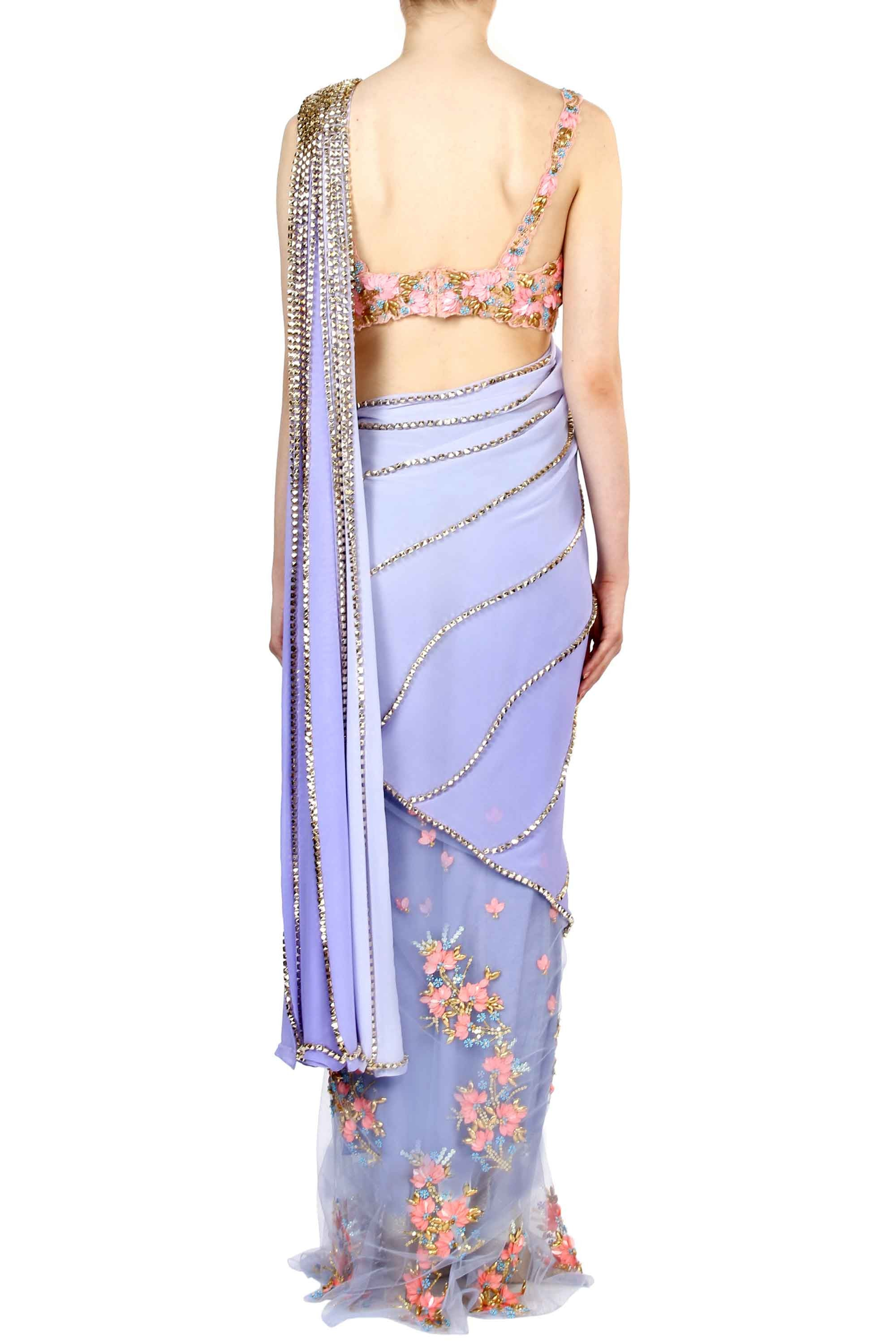 Lilac Pre-Stitched Saree Back