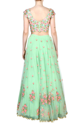 Floral Embroidered Mint Green Skirt Set