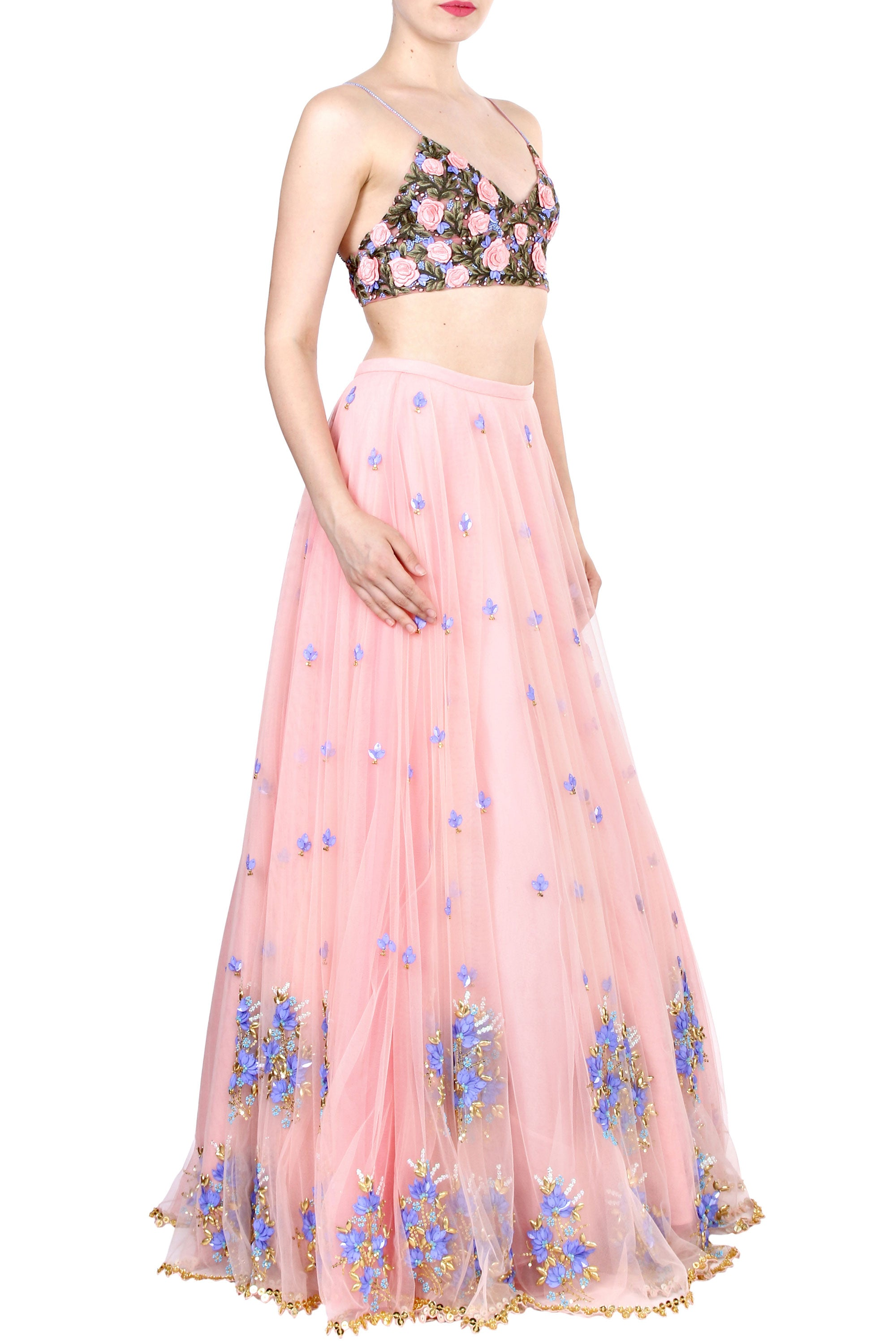 Floral Embroidery Blush Tulle Skirt Set Side