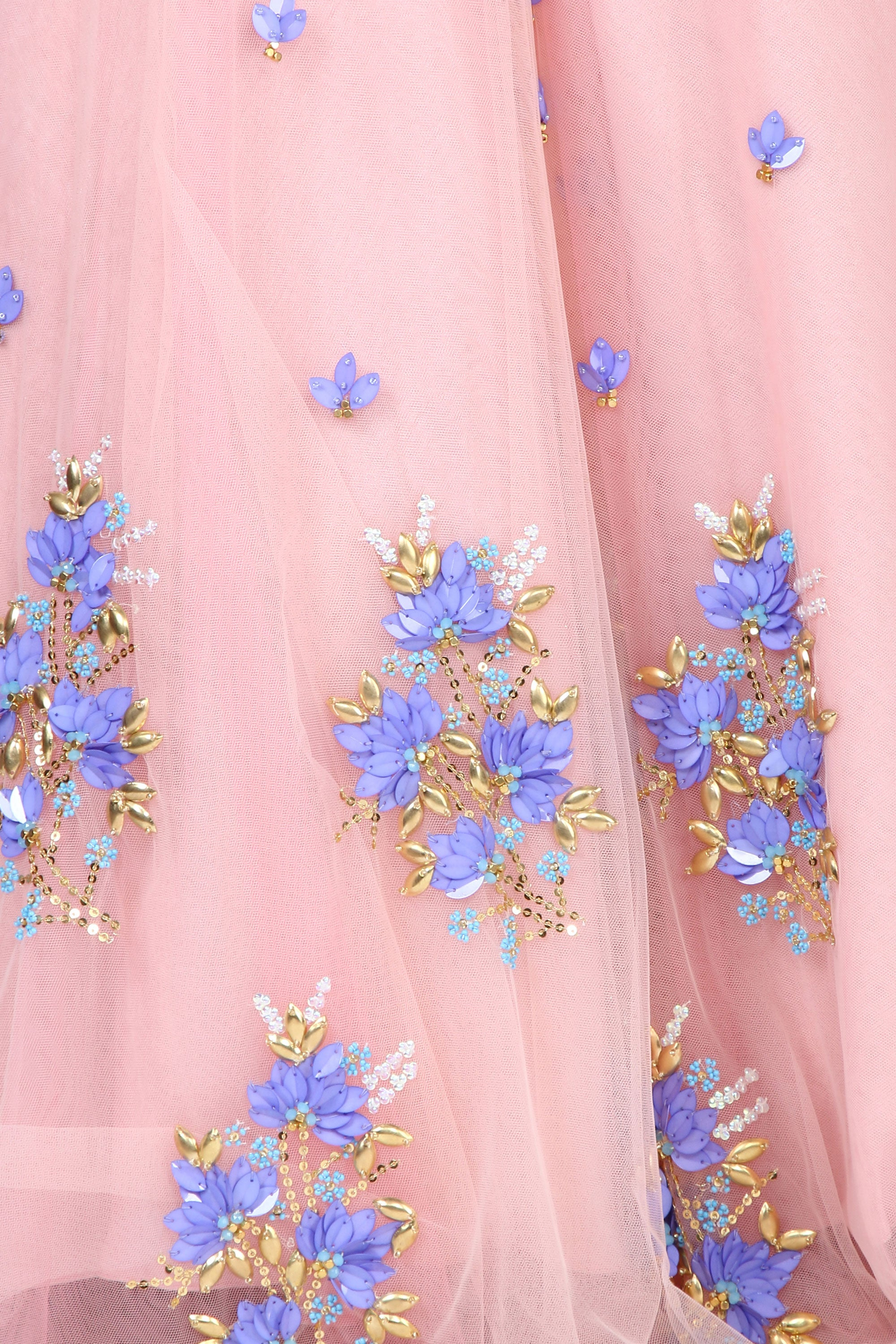 Floral Embroidery Blush Tulle Skirt Set Closeup