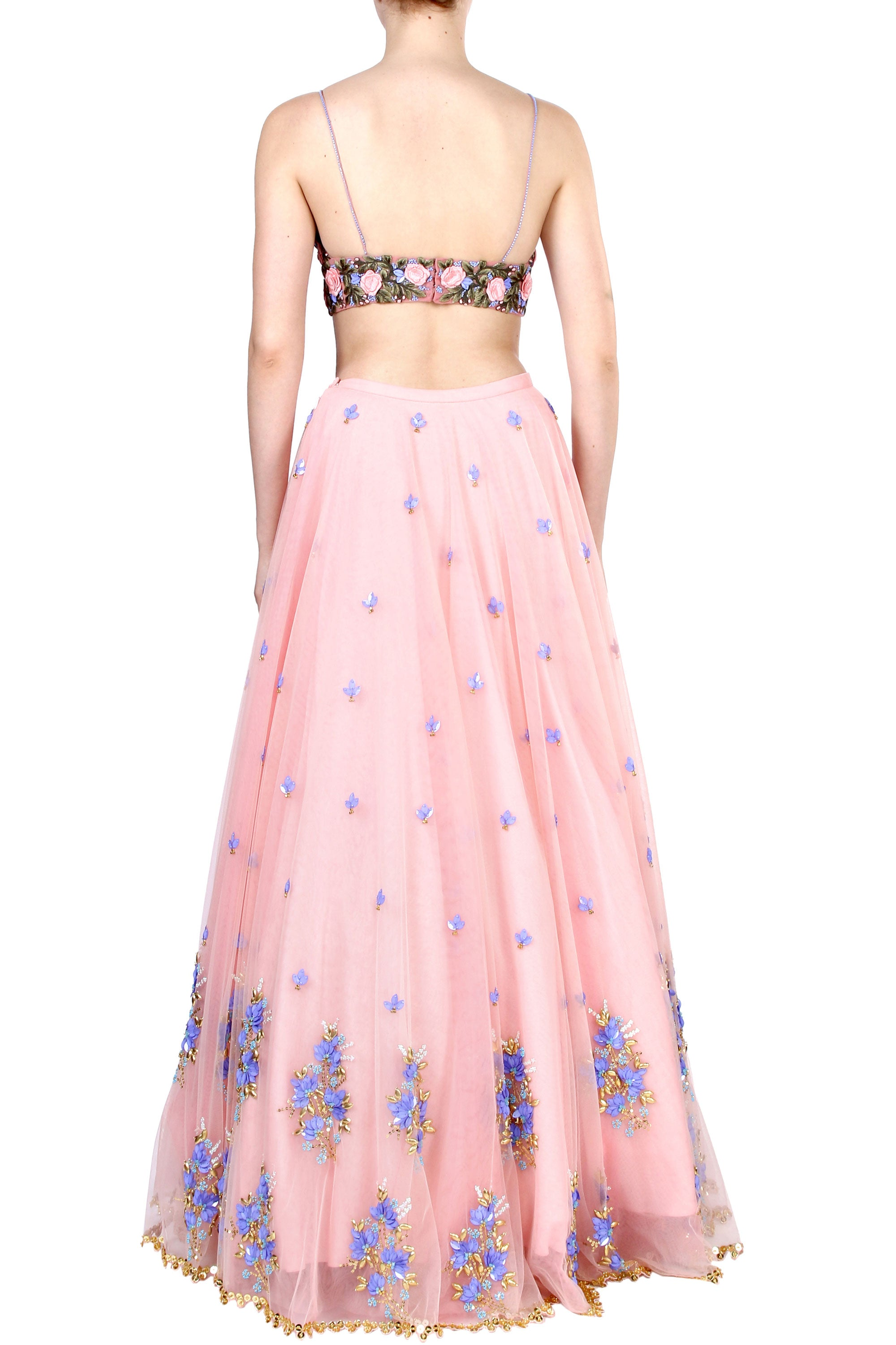 Floral Embroidery Blush Tulle Skirt Set Back