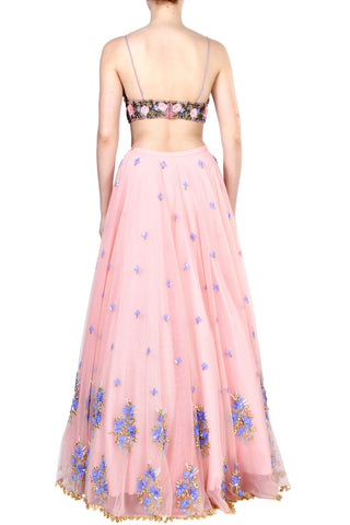 Floral Embroidery Blush Tulle Skirt Set