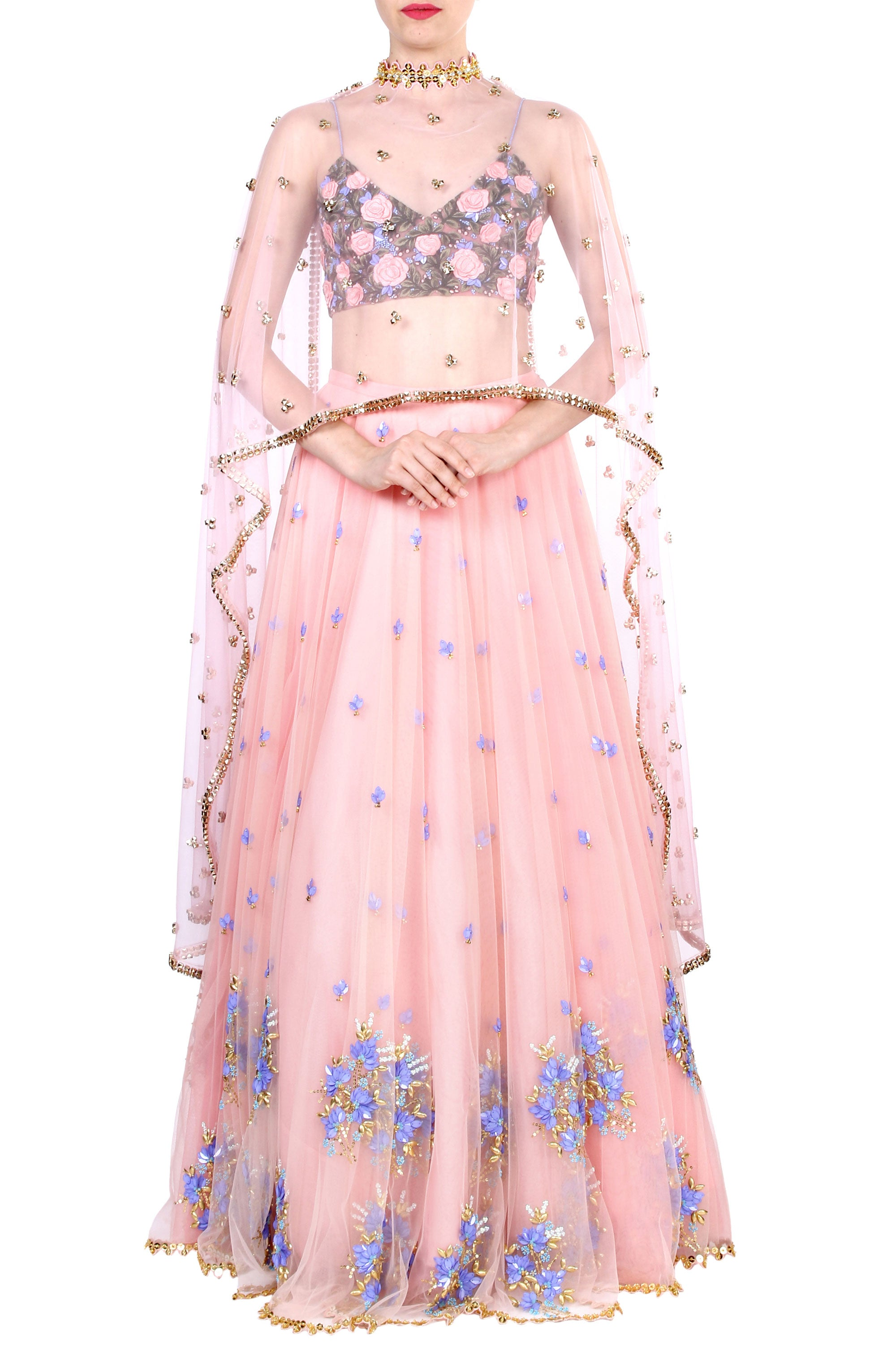 Floral Embroidery Blush Tulle Skirt Set Front