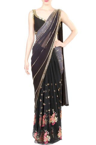 Grey Beaded Georgette Saree Front