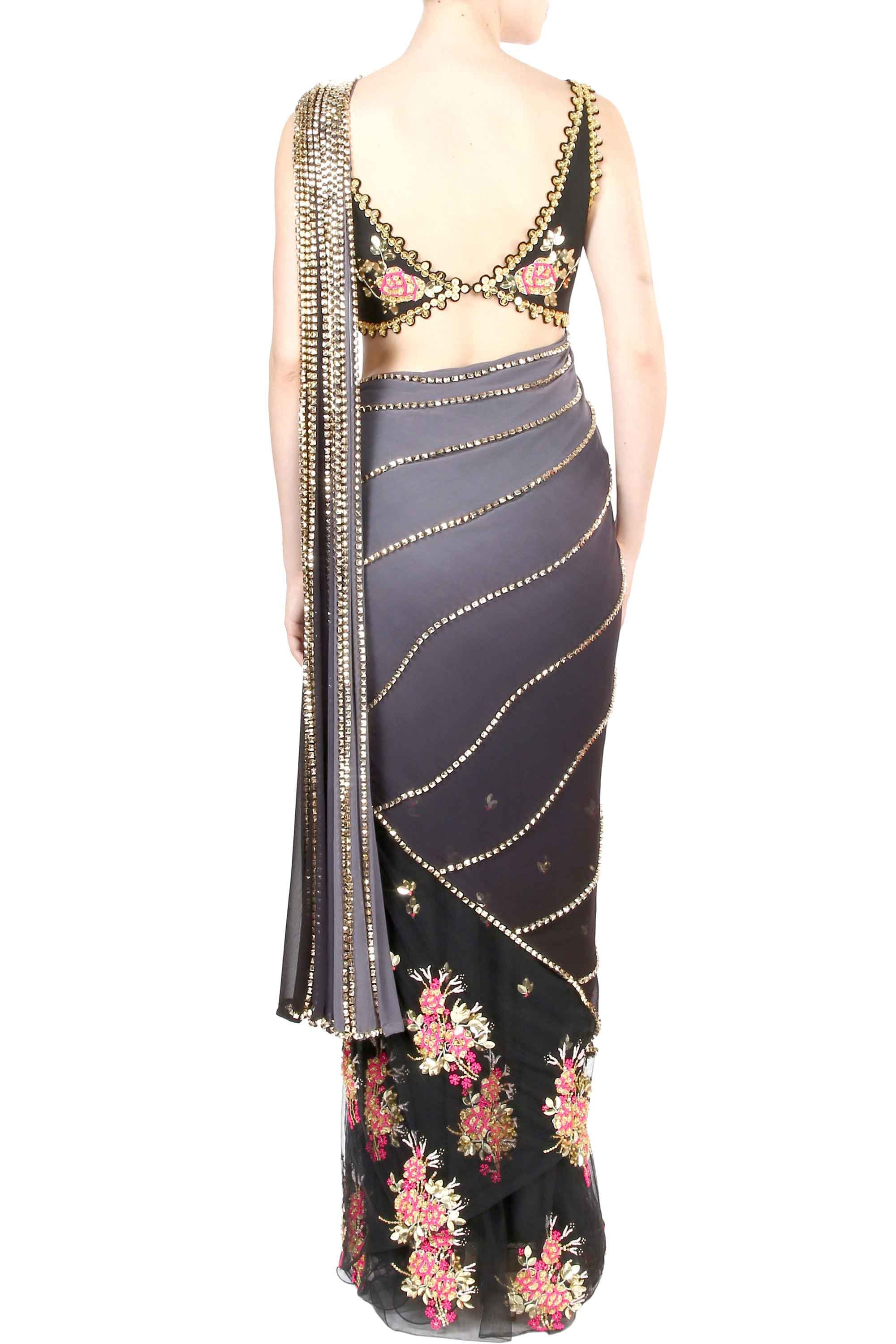 Grey Beaded Georgette Saree Back