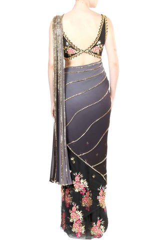 Black Beaded Georgette Saree