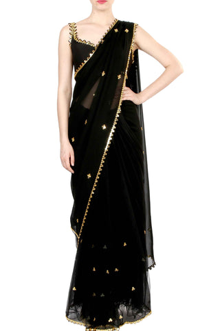 Black Georgette & Net Half And Half Saree Front