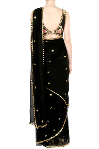 Black Georgette & Net Half & Half Saree
