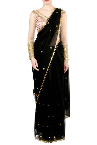 Black Georgette & Net Saree Front