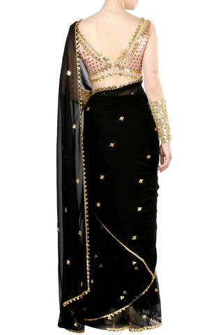Black Georgette & Net Saree