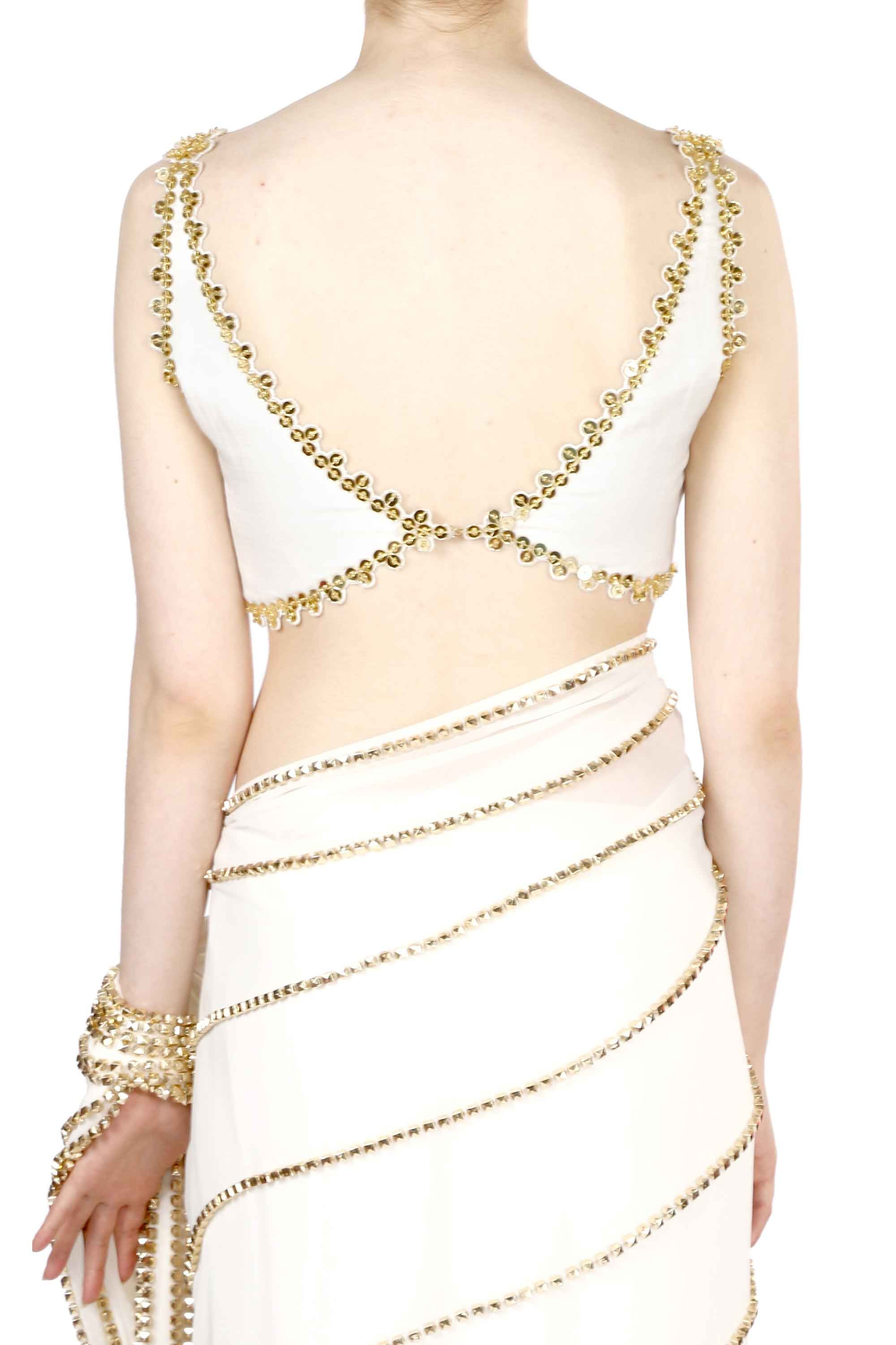 Ivory White Georgette Pre-Stitched Saree