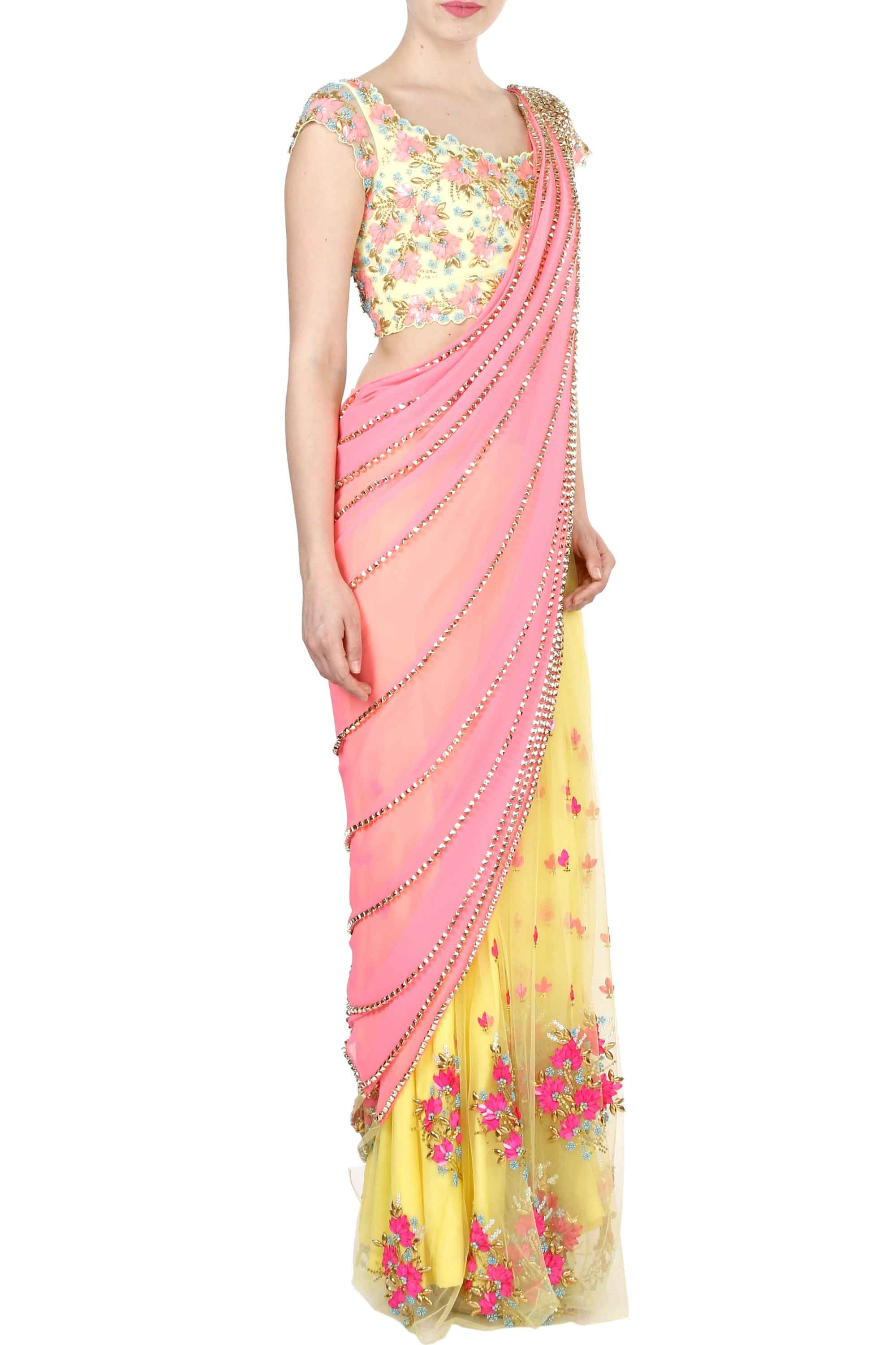 Yellow & Pink Prestitched Saree Side